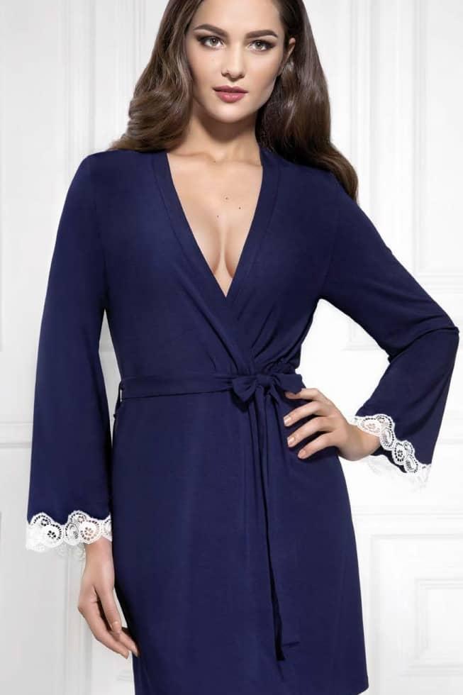 Купить Ночное белье - Халат ISABELA - голубой/молочный, Jasmine, голубой-молочный