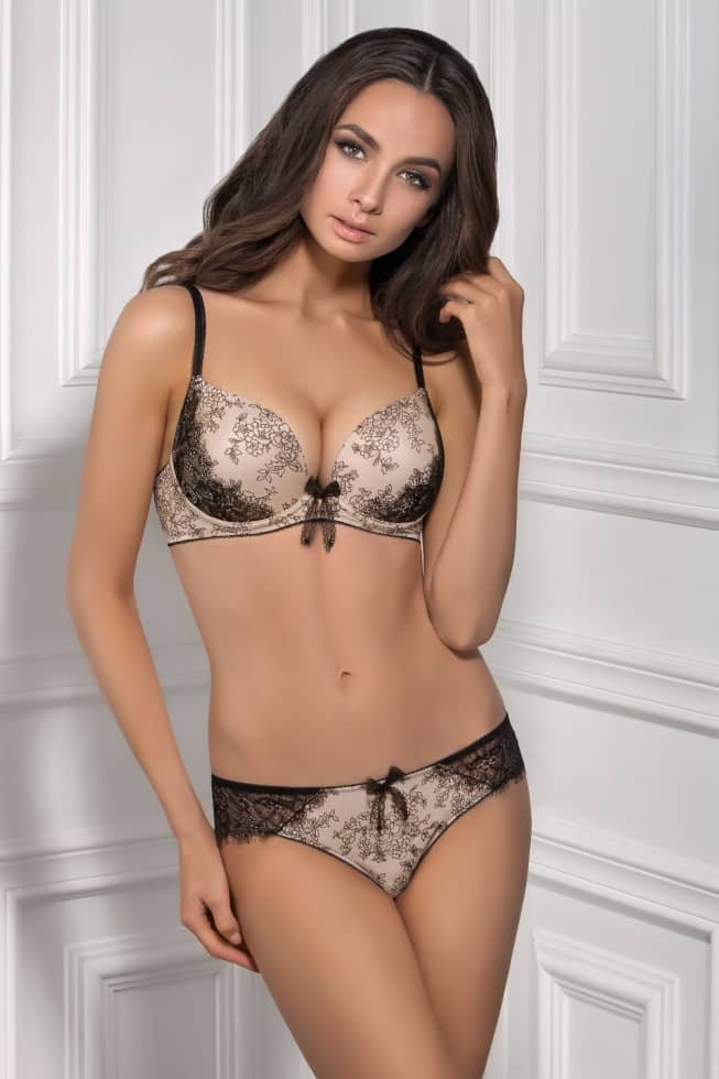 Push-up moulded bra GLEM beige-black — buy at a price  299 UAH in ... 3e1d55a856bc1