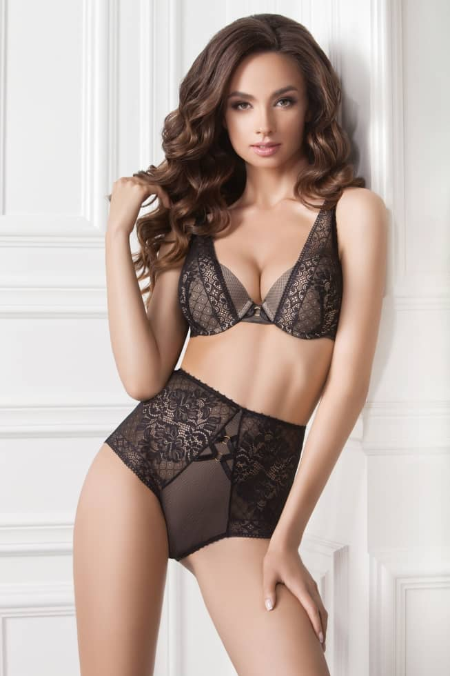Panties slip — Lilian, color: black-beige — picture 1