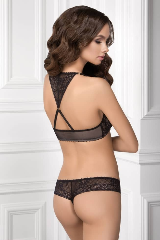 Panties string Tamila, color: black-beige — picture 1